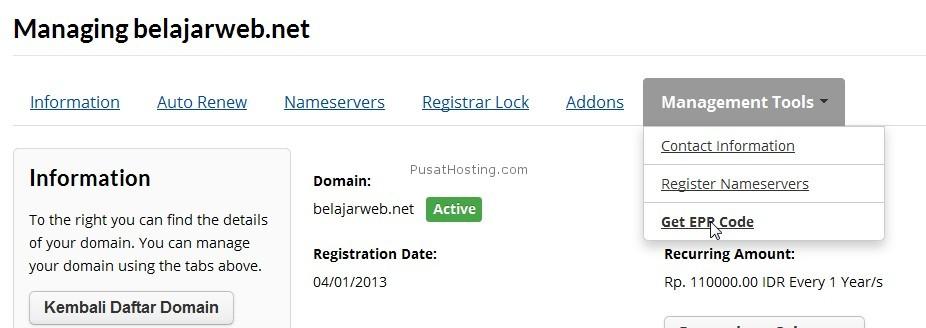 mendapatkan epp code domain whmcs