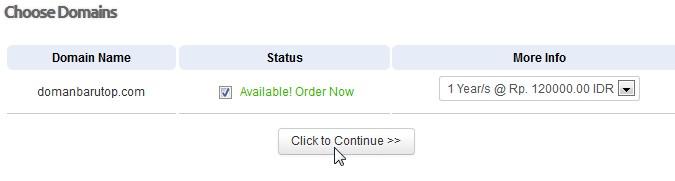 jika domain tersedia continua order domain hosting pusathsoting step 3