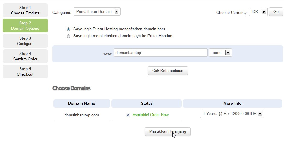 order domain pusathosting step 1