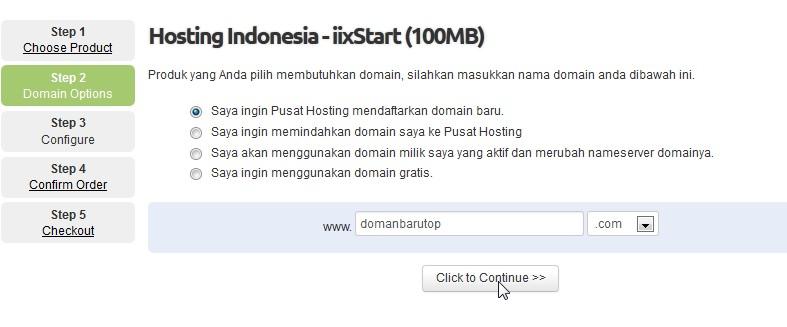 pesan paket hosting domain pilih nama domain step 2