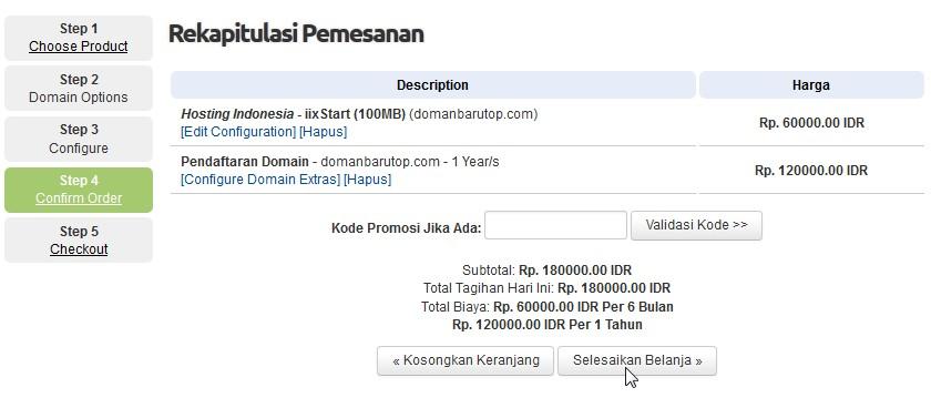 selesaikan belanja order domain hosting step 5