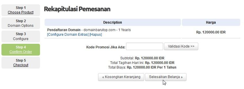 selesaikan belanja order domain pusathosting step 3