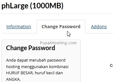 tab change password - pusathosting