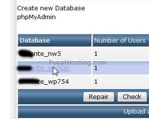 klik nama database