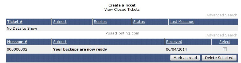 informasi backup selesai - mysql hosting - pusathosting
