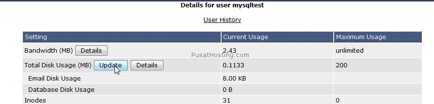 informasi space dan bandwidth - mysql hosting - pusathosting