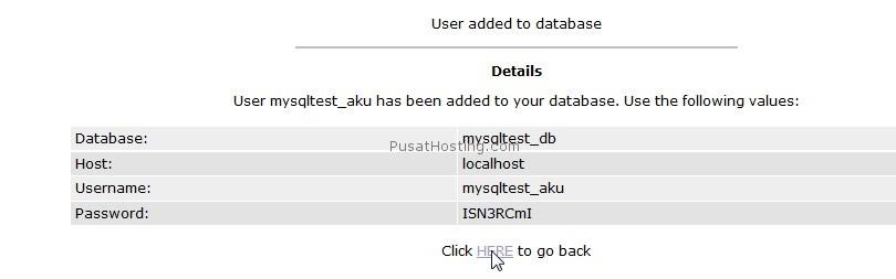 informasi user dan password baru database mysql - mysql hosting - pusathosting