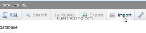 menu import phpmyadmin - pusathosting