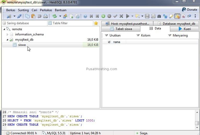 mysql berhasil login remote heidi sql - pusathosting
