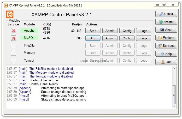 contoh xampp berjalan dengan normal