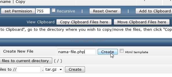 membuat file baru di directadmin