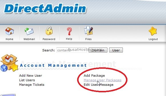 manage user package directadmin pusathosting