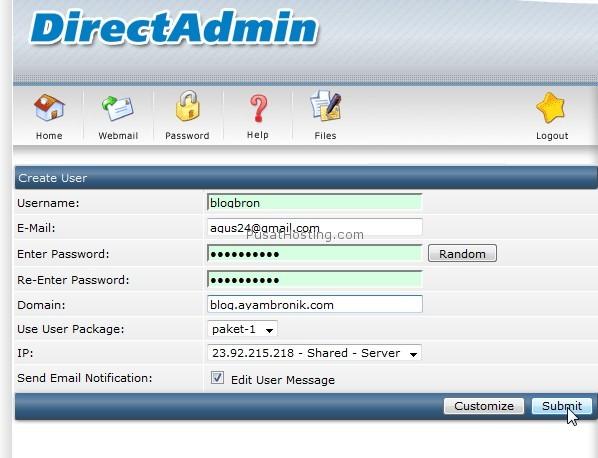 menambah user baru di directadmin pusathosting