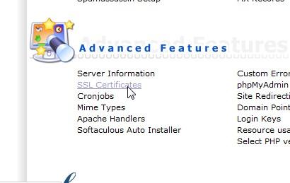 Menu SSL Certificate di Directadmin Pusathosting