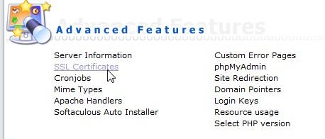 Menu ssl sertificate di hosting panel directadmin