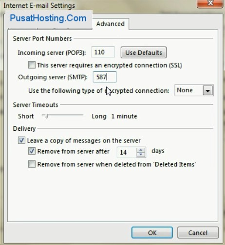 Advanced Setting ubah port 25 ke 587 outlook 2013