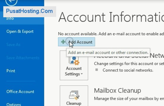 add account email outlook 2013