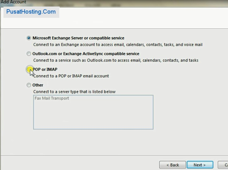 pop or imap outlook 2013
