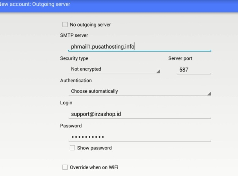 setting email smtp di aqua mail android