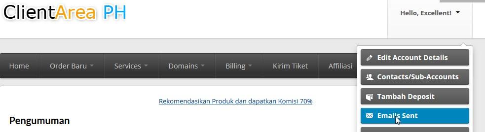 mail sent whmcs client area
