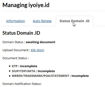 status domain id upload dokumen